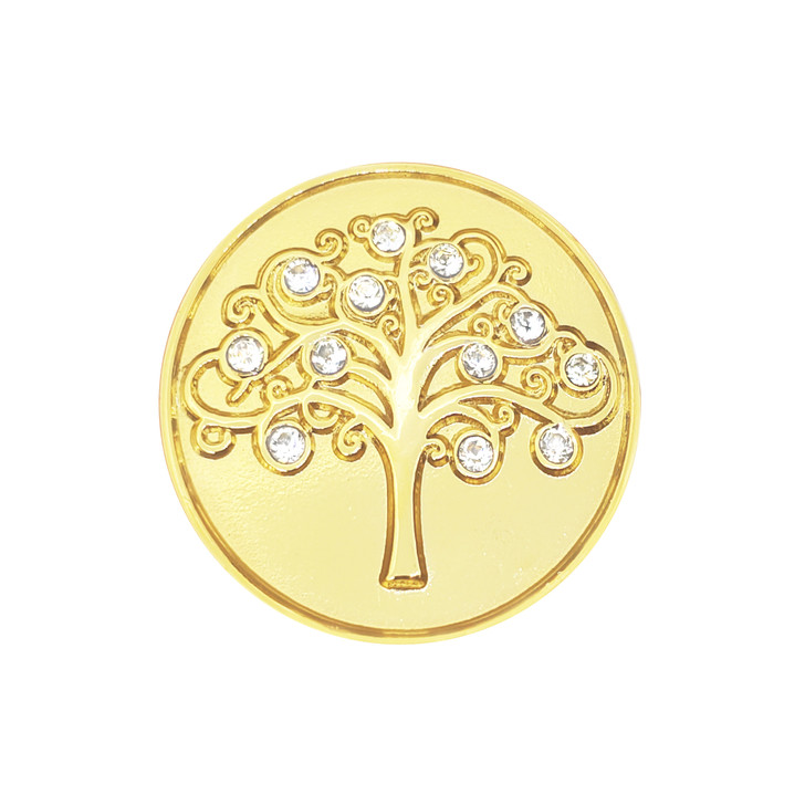 Tree of Life Gold Plated Ball Marker adorned with Crystals from Swarovski®- with Hat Clip
