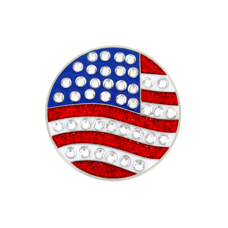 US Flag (Round) Ball Marker adorned with Crystals from Swarovski®- with Hat Clip