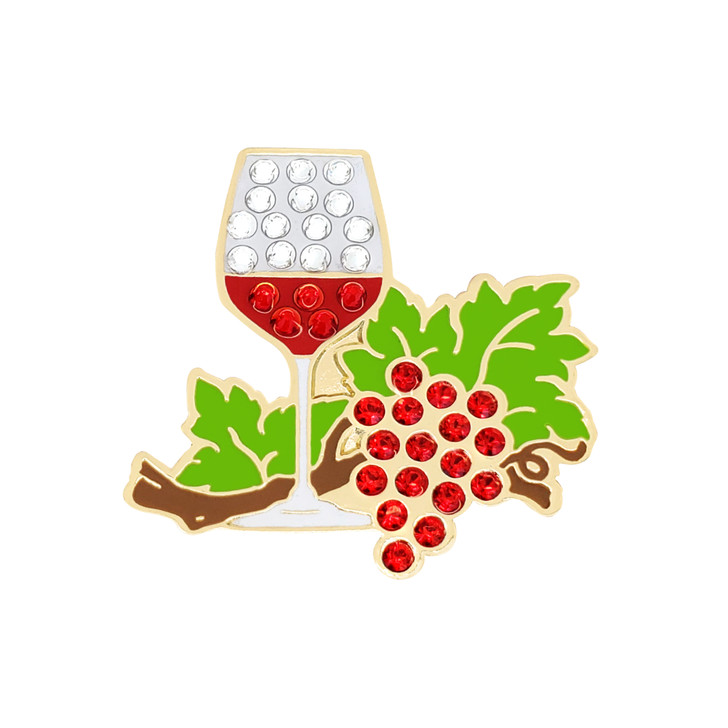 Wine Anyone Ball Marker adorned with Crystals from Swarovski®- with Hat Clip