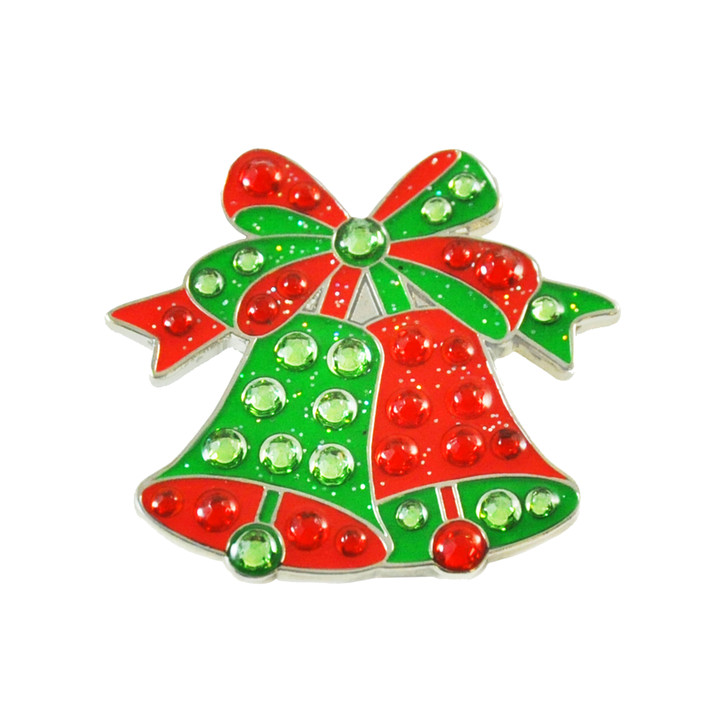 Christmas Bells Ball Marker adorned with Crystals from Swarovski®- with Hat Clip