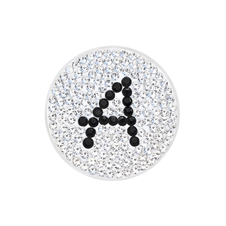 """Initial """"A"""" Black Micro Pave Crystal Ball Marker with Hat Clip"""