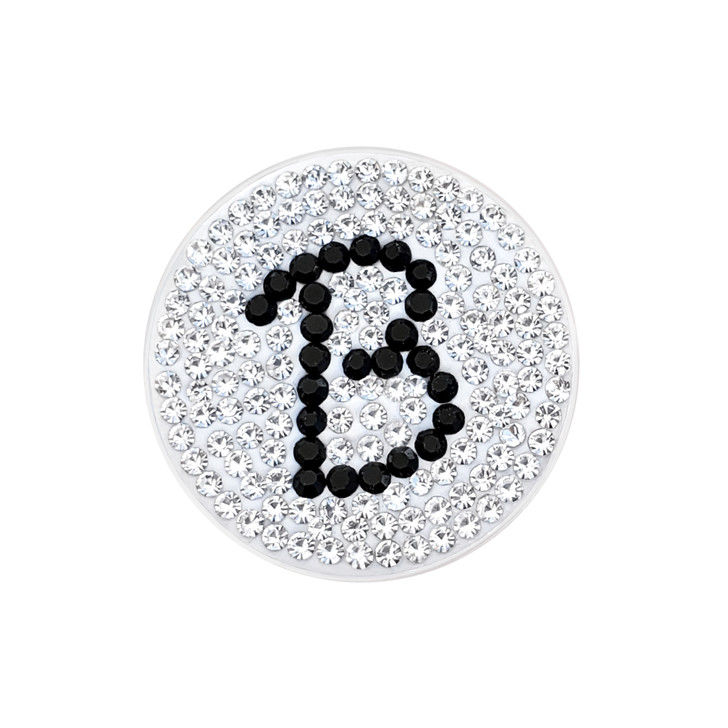 """Initial """"B"""" Black Micro Pave Crystal Ball Marker with Hat Clip"""