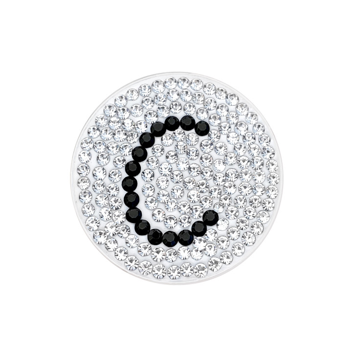 """Initial """"C"""" Black Micro Pave Crystal Ball Marker with Hat Clip"""