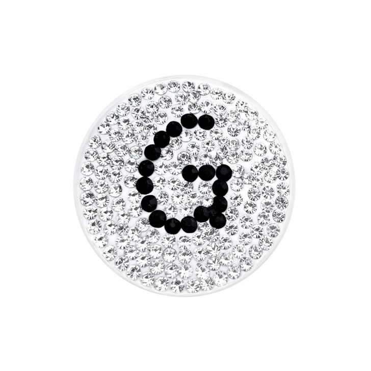 """Initial """"G"""" Black Micro Pave Crystal Ball Marker with Hat Clip"""