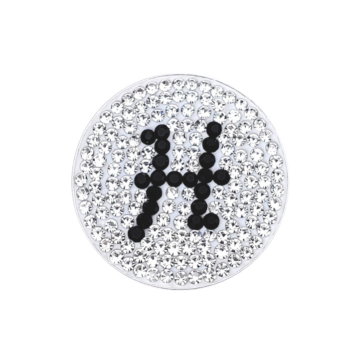 """Initial """"H"""" Black Micro Pave Crystal Ball Marker with Hat Clip"""