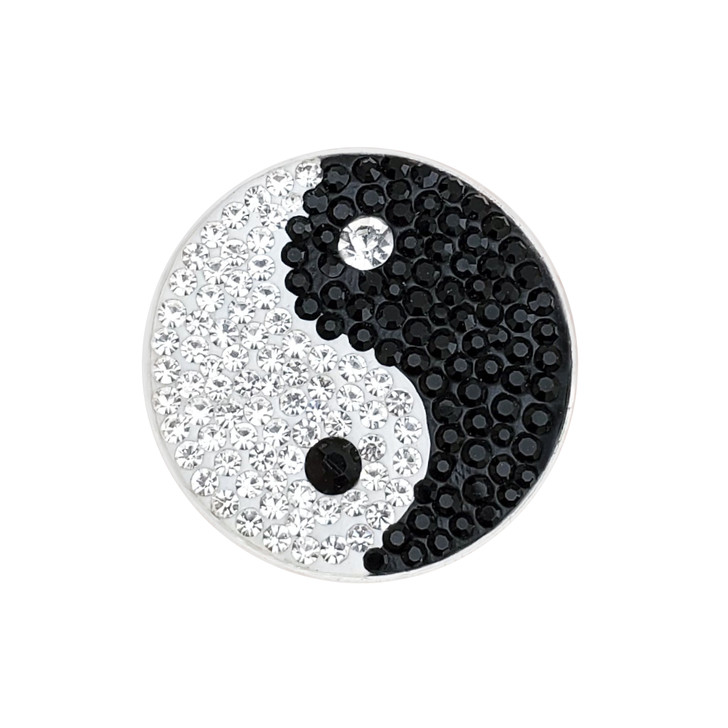 """Micro Pave Crystal """"Yin to My Yang"""" Ball Marker w/ Hat Clip"""