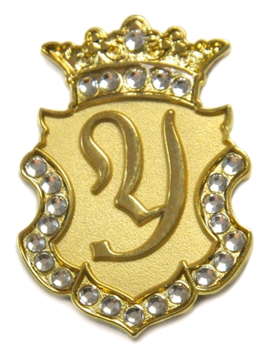 """Gold INITIAL """"Y"""" Ball Marker adorned with Crystals from Swarovski® + Matching Crown Clip"""