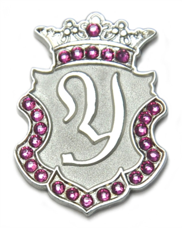"""Silver INITIAL """"Y"""" Ball Marker adorned with Pink Crystals from Swarovski® + Matching Crown Clip"""