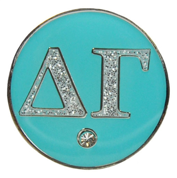Delta Gamma Silver & Teal Sorority Magnetic Ball Marker and Hat Clip