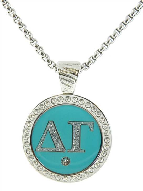 Delta Gamma Sorority Magnetic Ball Marker Crystal Encrusted Necklace