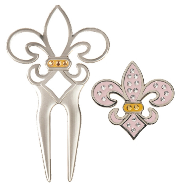 White Fleur De Lis Divot Tool with Pink Fleur de Lis Ball Marker adorned with Crystals from Swarovski®