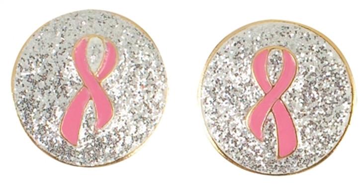 Diamond Dust Pink Ribbon Earrings