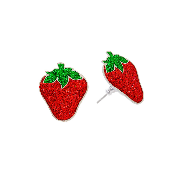 Strawberry Glitzy Magnetic Ball Markers Earring Set