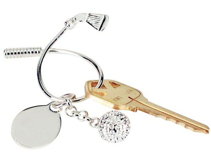 Silver Twisted Golf Club & Ball Key Chain