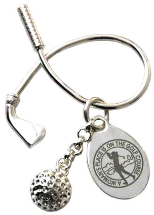 Woman's Place Silver Twisted Golf Club & Ball Key Chain