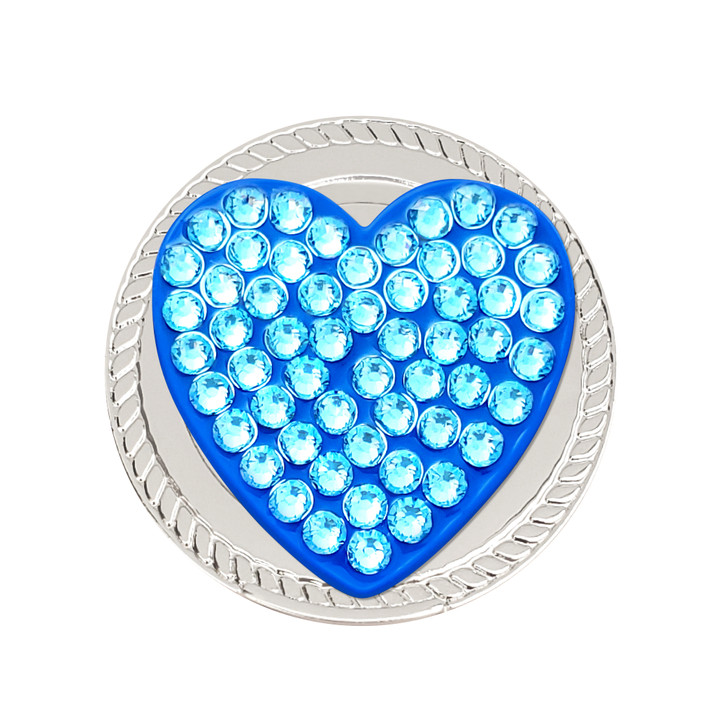 Blue Heart Magnetic Kicks Candy Shoe Ball Marker adorned with Crystals from Swarovski®