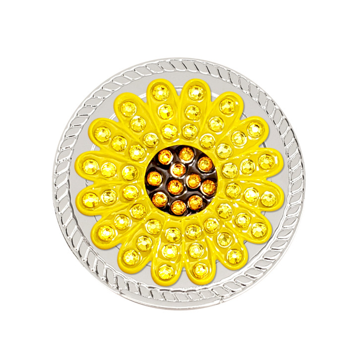 Yellow Sunflower Magnetic Kicks Candy Shoe Ball Marker adorned with Crystals from Swarovski®