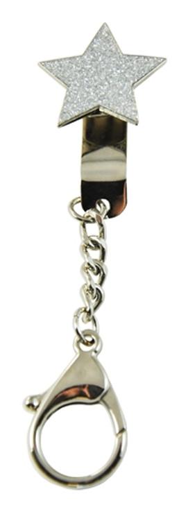 Crushed Crystal Silver Star Key Keyper Keychain