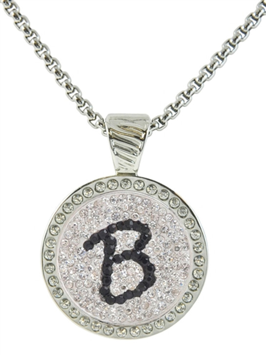 Chameleon Magnetic Necklace with Interchangeable  Micro Pave Crystal Ball Marker Black Initial B