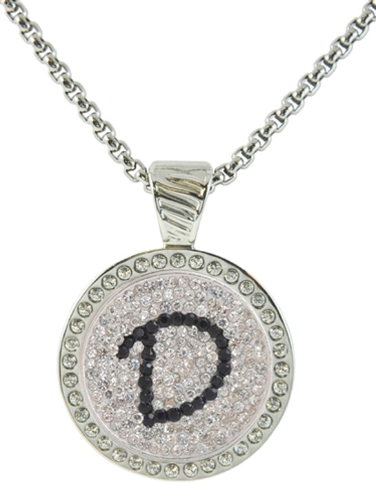 Chameleon Magnetic Necklace with Interchangeable  Micro Pave Crystal Ball Marker Black Initial D