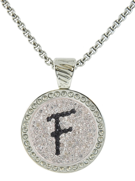 Chameleon Magnetic Necklace with Interchangeable  Micro Pave Crystal Ball Marker Black Initial F