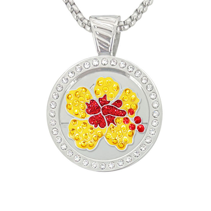 Chameleon Magnetic Necklace with Interchangeable  Swarovski Crystal Ball Marker Hibiscus Orange