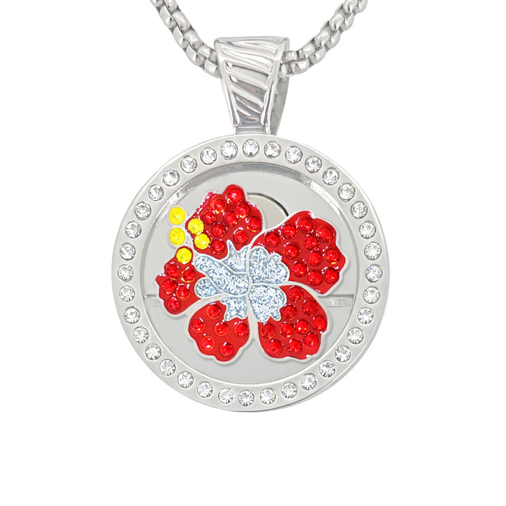 Chameleon Magnetic Necklace with Interchangeable  Swarovski Crystal Ball Marker Hibiscus Red