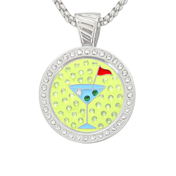 Chameleon Magnetic Necklace with Interchangeable  Swarovski Crystal Ball Marker Martini Blue