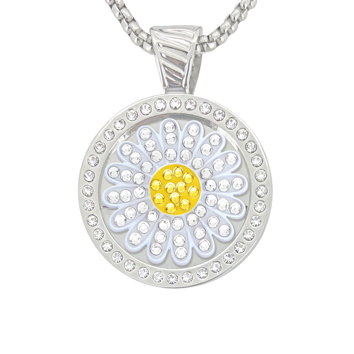 Chameleon Magnetic Necklace with Interchangeable  Swarovski Crystal Ball Marker Sunflower White