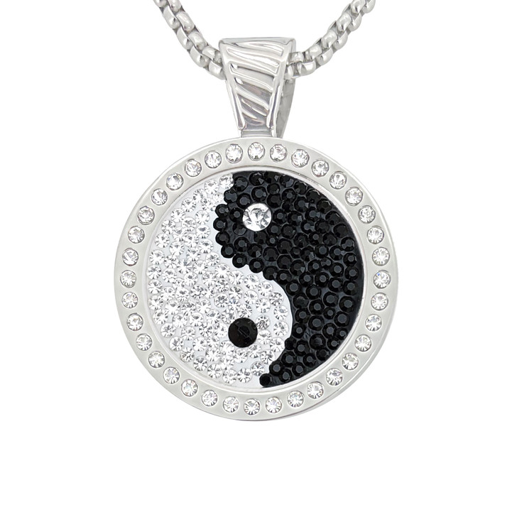 Chameleon Magnetic Necklace with Interchangeable Interchangeable Micro Pave Crystal  Ball Marker  Yin to My Yang