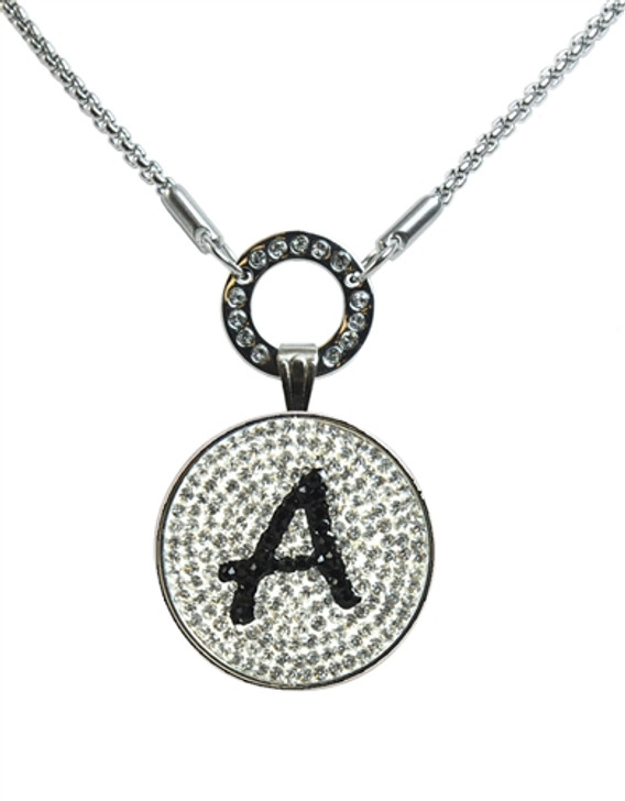 """Black Initial """"A"""" Micro Pave Crystal Ball Marker on Magnetic Necklace"""
