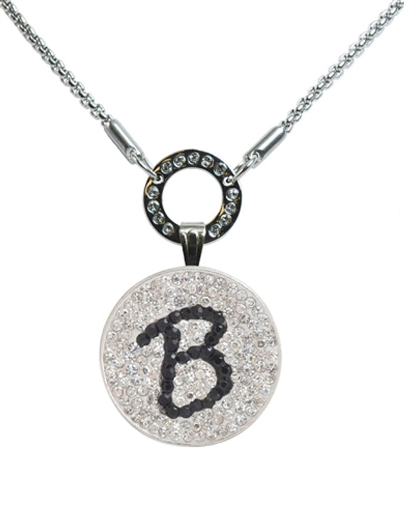 """Black Initial """"B"""" Micro Pave Crystal Ball Marker on Allure Magnetic Necklace"""
