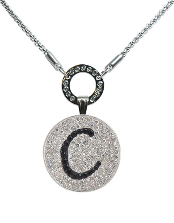 """Black Initial """"C"""" Micro Pave Crystal Ball Marker on Allure Magnetic Necklace"""