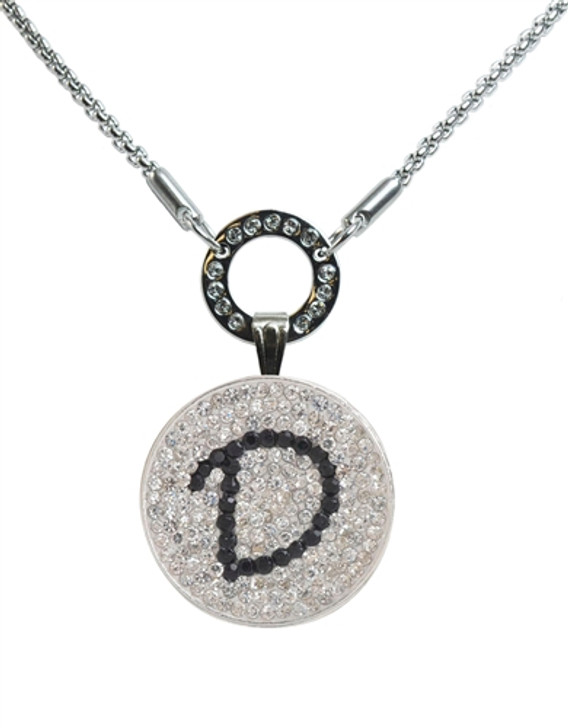 """Black Initial """"D"""" Micro Pave Crystal Ball Marker on Allure Magnetic Necklace"""