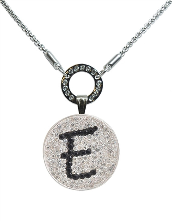 """Black Initial """"E"""" Micro Pave Crystal Ball Marker on Allure Magnetic Necklace"""