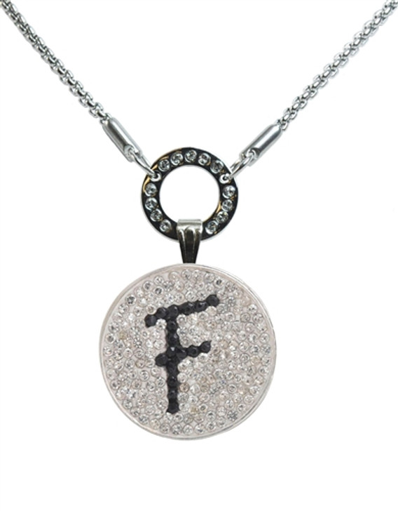 """Black Initial """"F"""" Micro Pave Crystal Ball Marker on Allure Magnetic Necklace"""