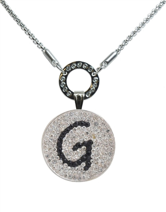 """Black Initial """"G"""" Micro Pave Crystal Ball Marker on Allure Magnetic Necklace"""