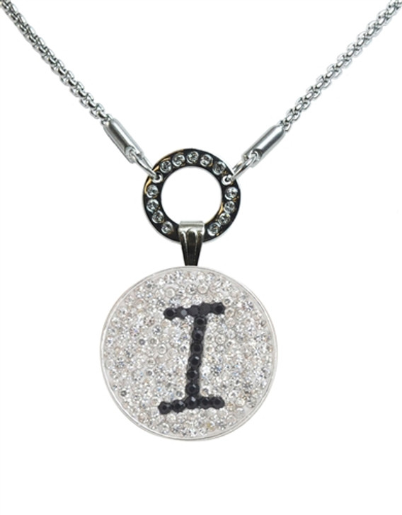"""Black Initial """"I"""" Micro Pave Crystal Ball Marker on Allure Magnetic Necklace"""