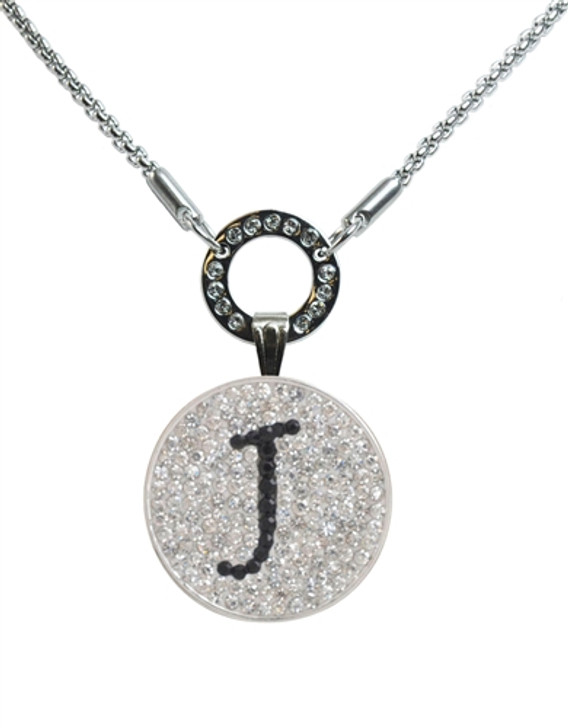 """Black Initial """"J"""" Micro Pave Crystal Ball Marker on Allure Magnetic Necklace"""