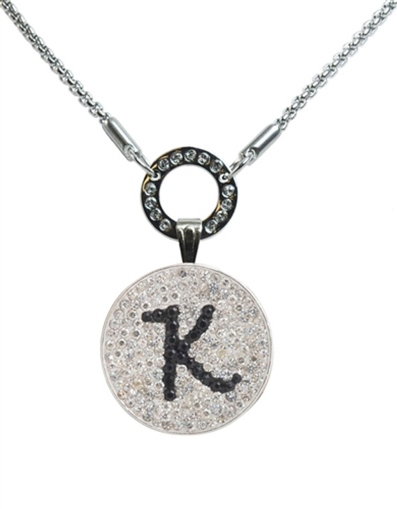 """Black Initial """"K"""" Micro Pave Crystal Ball Marker on Allure Magnetic Necklace"""