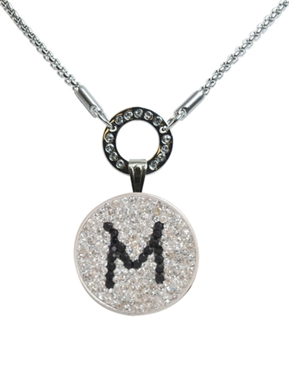"""Black Initial """"M"""" Micro Pave Crystal Ball Marker on Allure Magnetic Necklace"""