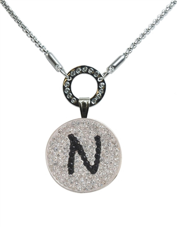 """Black Initial """"N"""" Micro Pave Crystal Ball Marker on Allure Magnetic Necklace"""
