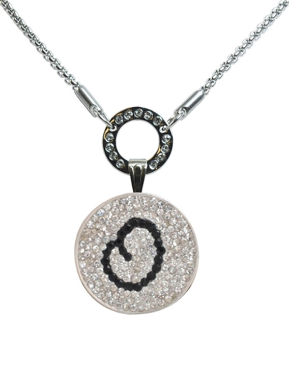 """Black Initial """"O"""" Micro Pave Crystal Ball Marker on Allure Magnetic Necklace"""