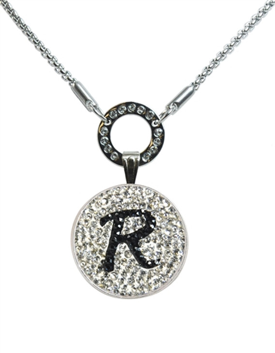 """Black Initial """"R"""" Micro Pave Crystal Ball Marker on Allure Magnetic Necklace"""