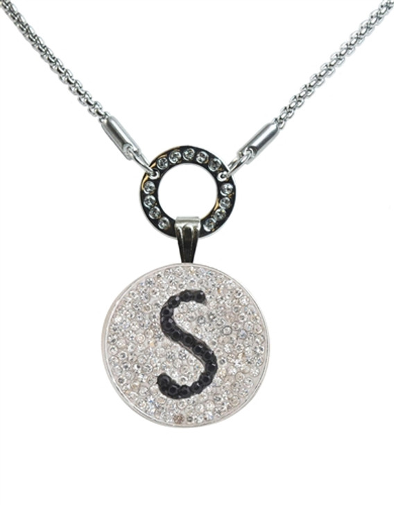 """Black Initial """"S"""" Micro Pave Crystal Ball Marker on Allure Magnetic Necklace"""