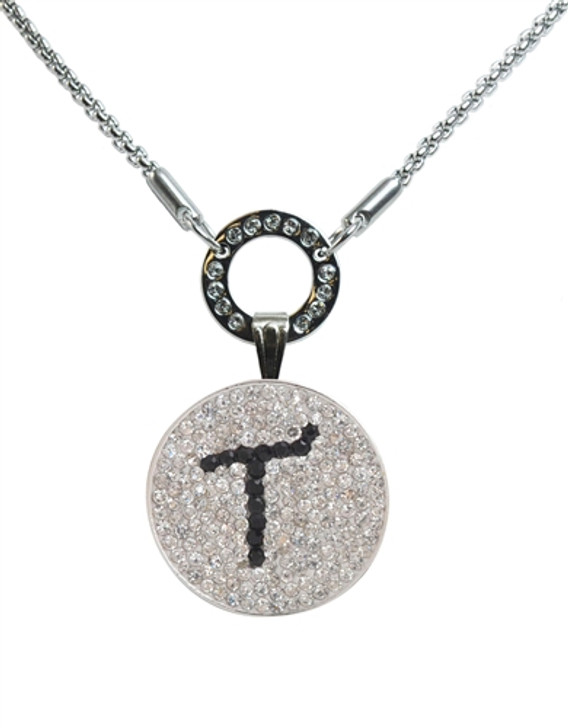 """Black Initial """"T"""" Micro Pave Crystal Ball Marker on Allure Magnetic Necklace"""