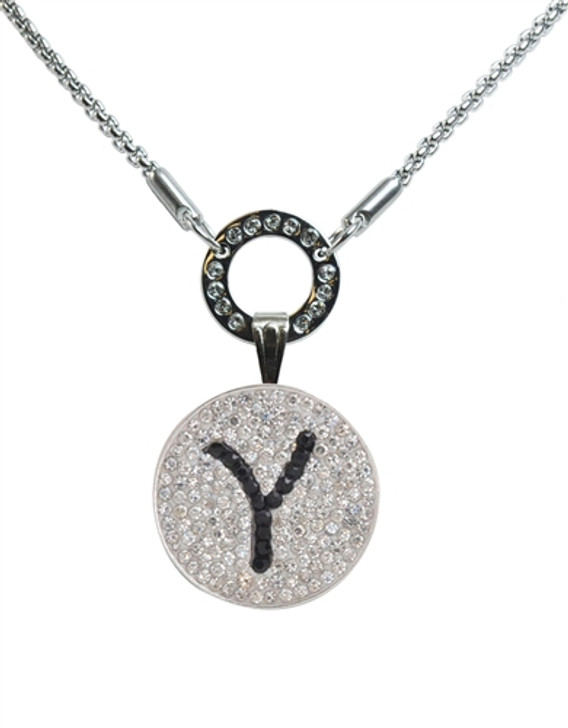 """Black Initial """"Y"""" Micro Pave Crystal Ball Marker on Allure Magnetic Necklace"""