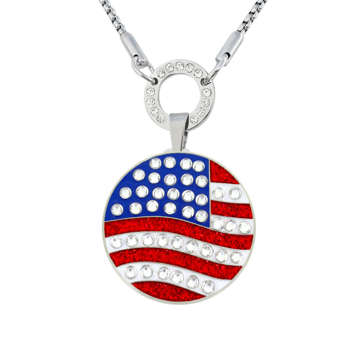 Allure Magnetic Necklace With Interchangeable Swarovski Crystal Ball Marker US Flag Round