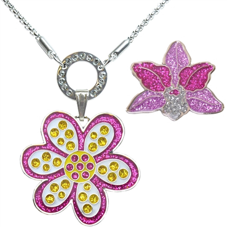 Allure Magnetic Necklace with Purple Oopsy Daisy & Orchid Glitzy Ball Markers