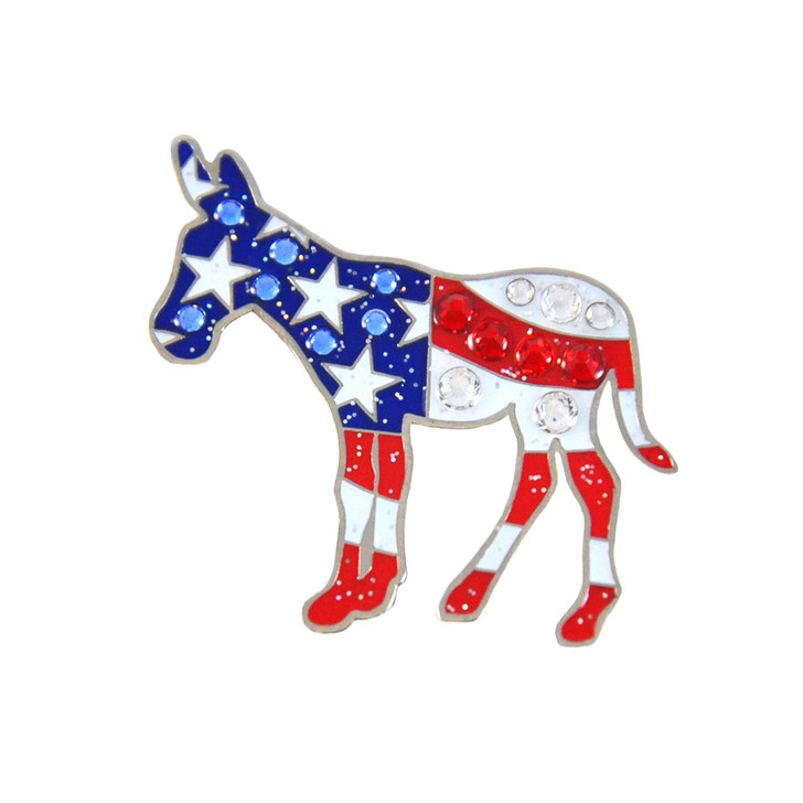Democrat Donkey Ball Marker adorned with Crystals from Swarovski® with Hat Clip